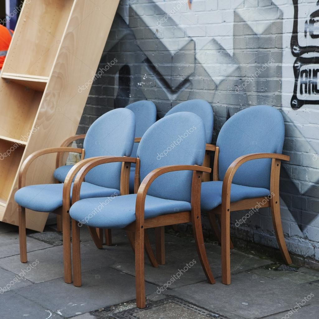 Collection Of Old Broken Chairs On The Flea Market Stock Photo 98902176