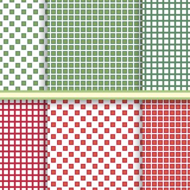 Retro Geometric abstract seamless patterns vector set in red and green color