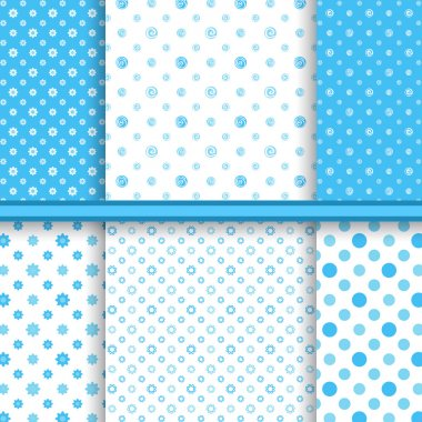Set of bright blue childish different vector seamless patterns (tiling)