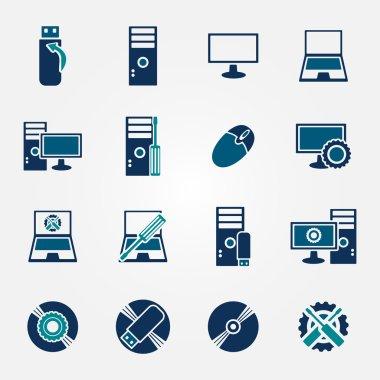 Flat computer repair icons set