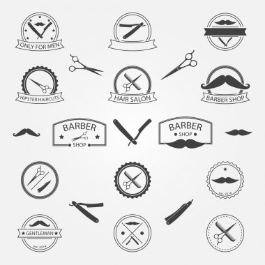 Vector set of barber shop logo