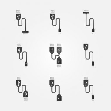 USB cables black vector icons