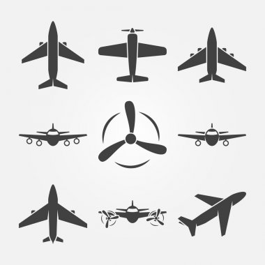 Plane icons - vector set of black airplane symbols or logos stock vector