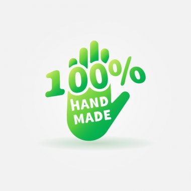 Hand made vector green label or sign