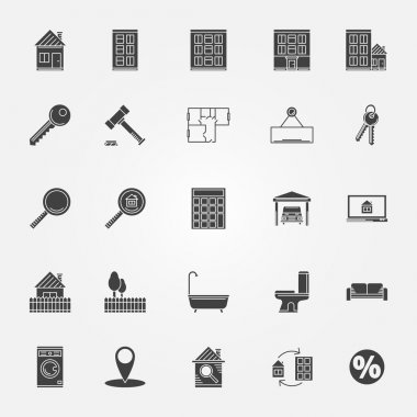 Real estate or interior icons set
