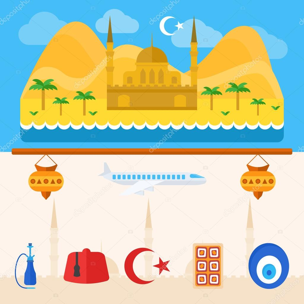 Turkey or turkish icons and background