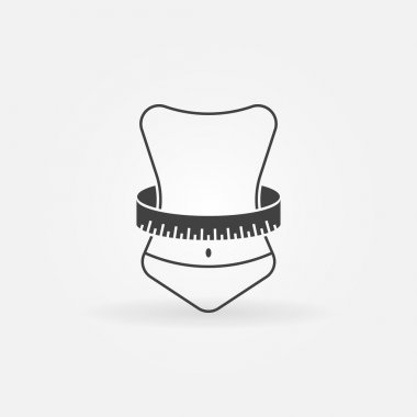 Weight loss icon or logo - vector symbol of woman with measuring tape clip art vector