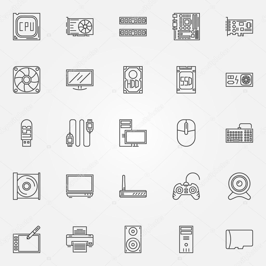 Computer-Komponenten Symbole auf — Stockvektor © sn3g #80702862