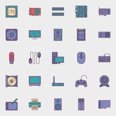 Computer hardware icons set