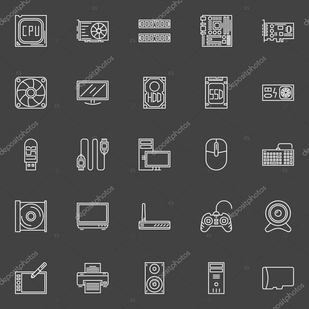 Computer Komponenten Symbole — Stockvektor © sn3g #81164728