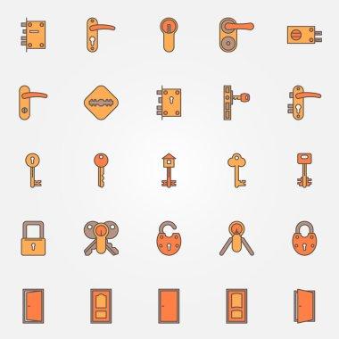 Door locks, keys icons