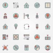 Icone colorate di elettricità