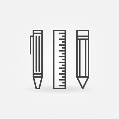Pencil, ruler and pen icon