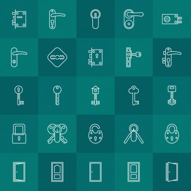 Keys and door lock icons