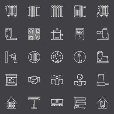 Heating linear icons