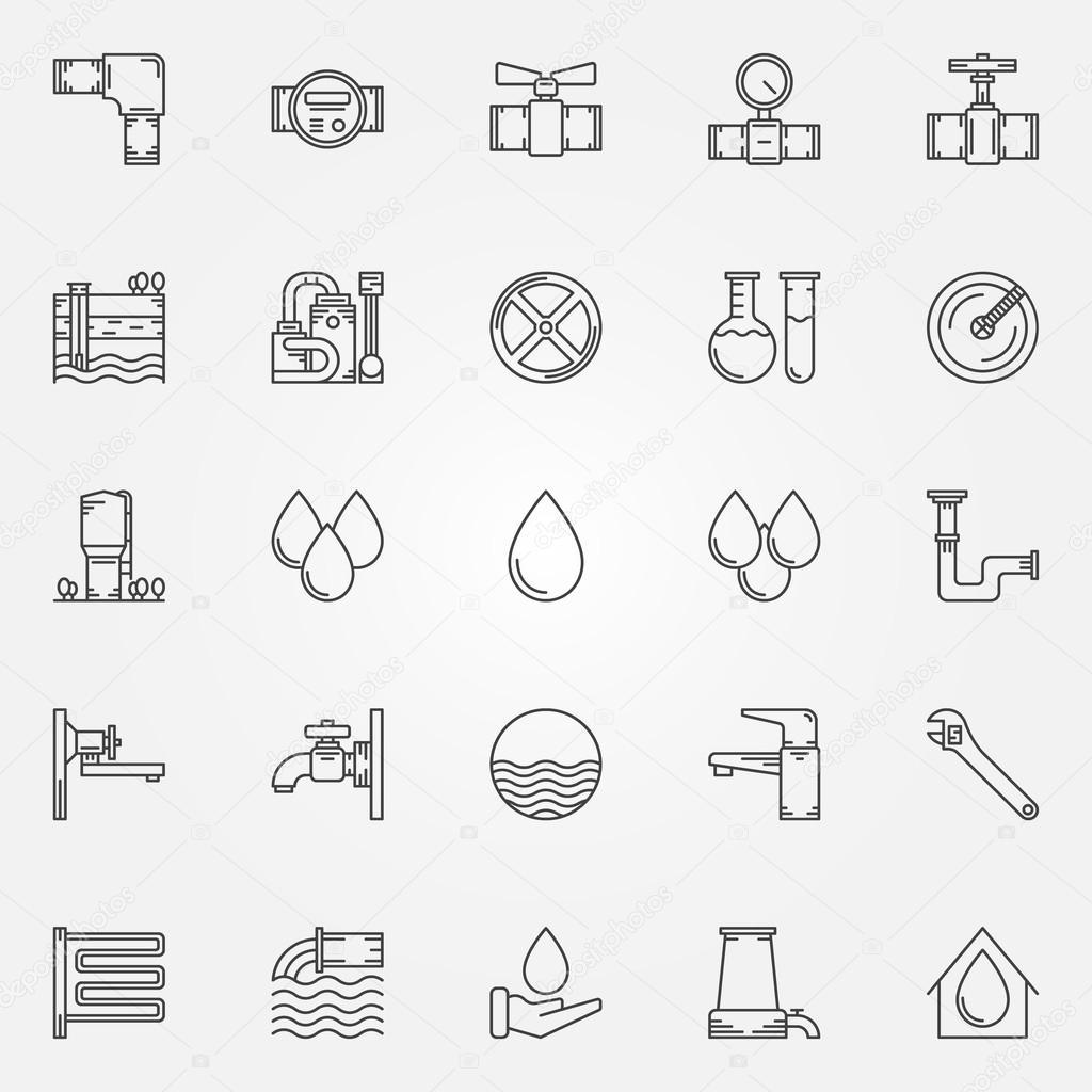 Wasserversorgung-Icons — Stockvektor © sn3g #87088182