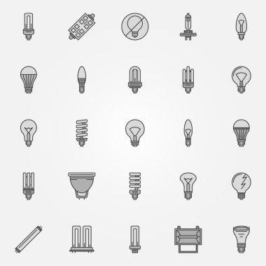 Monochrome bulb icons