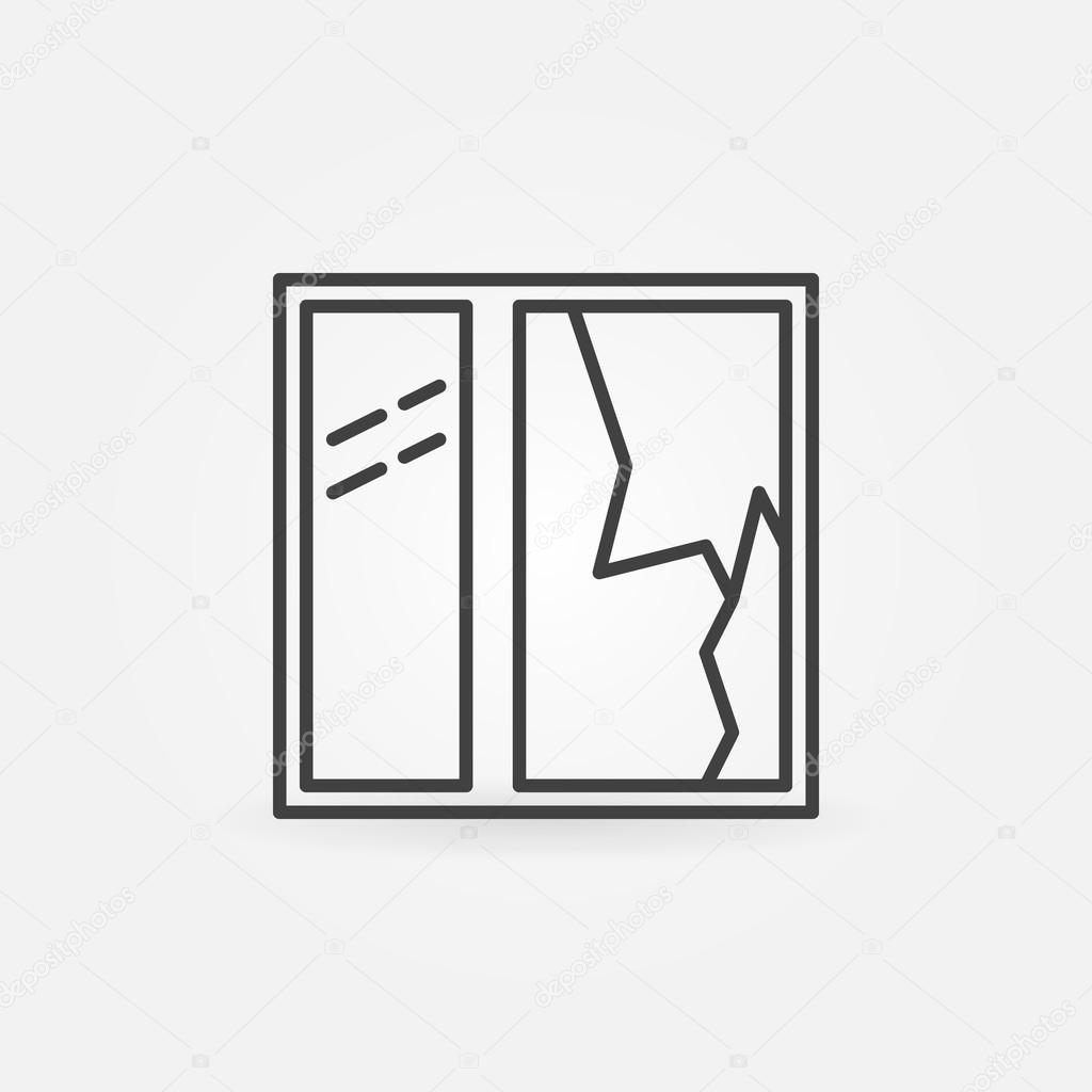 Rozbite Okno Wiersza Wektor Ikona Grafika Wektorowa Sn3g