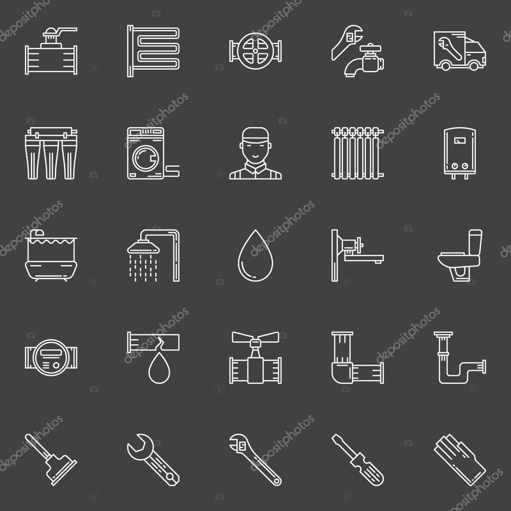 Sanitary engineering line icons