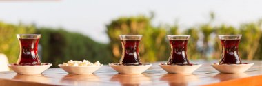 Concept of turkish tea accessories