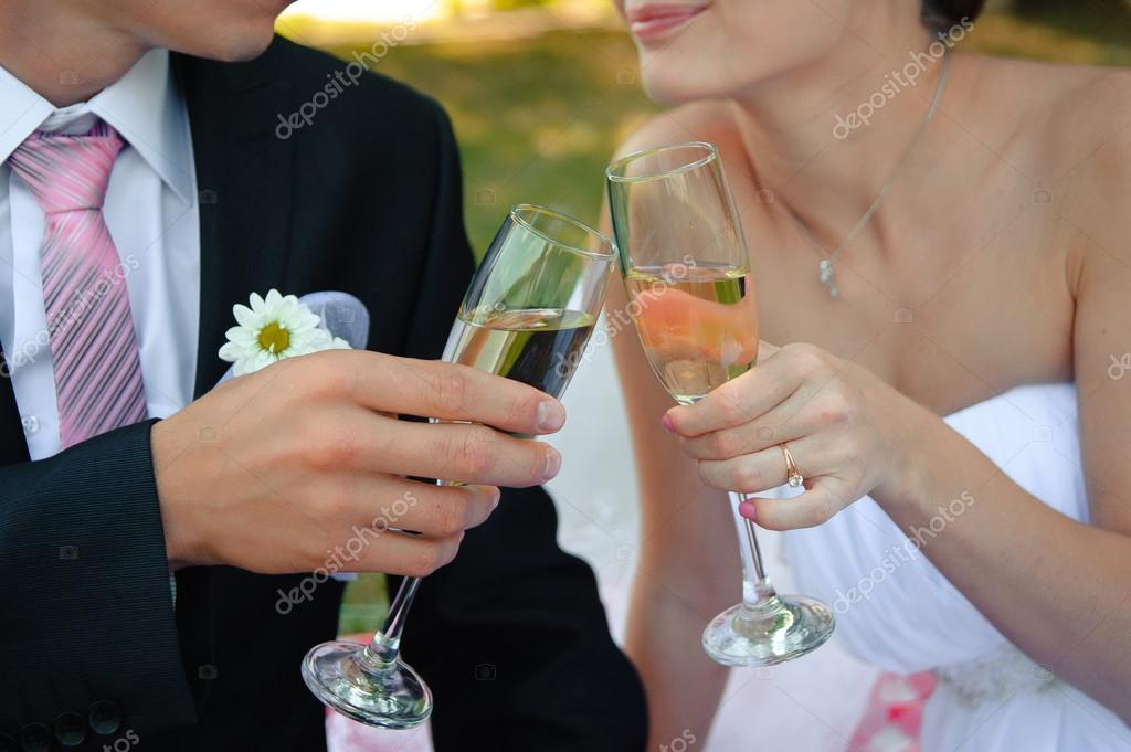 Clink Of Glasses Wedding Reception Toast Cheers Stock Photo