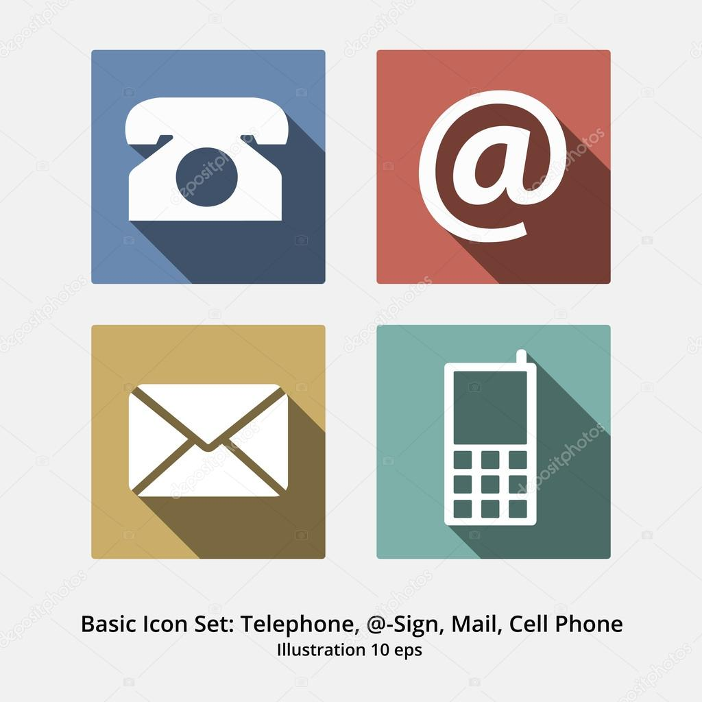 basic icon set   t u00e9l u00e9phone  symbole  mail et t u00e9l u00e9phone portable  f moderne  u2014 image vectorielle