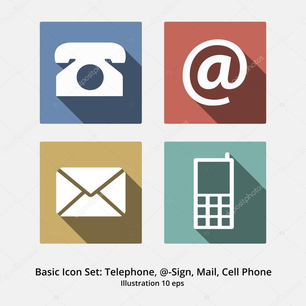 basic icon set   t u00e9l u00e9phone  symbole  mail et t u00e9l u00e9phone portable  f moderne  u2014 image vectorielle