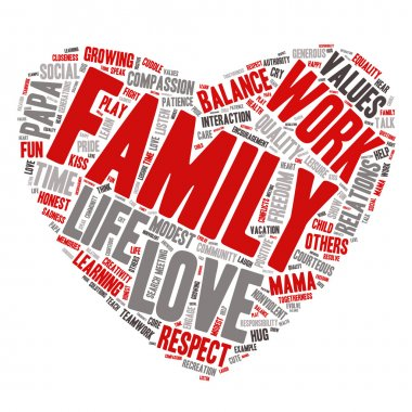 Word Cloud - Family Values, Love - Heart Shape