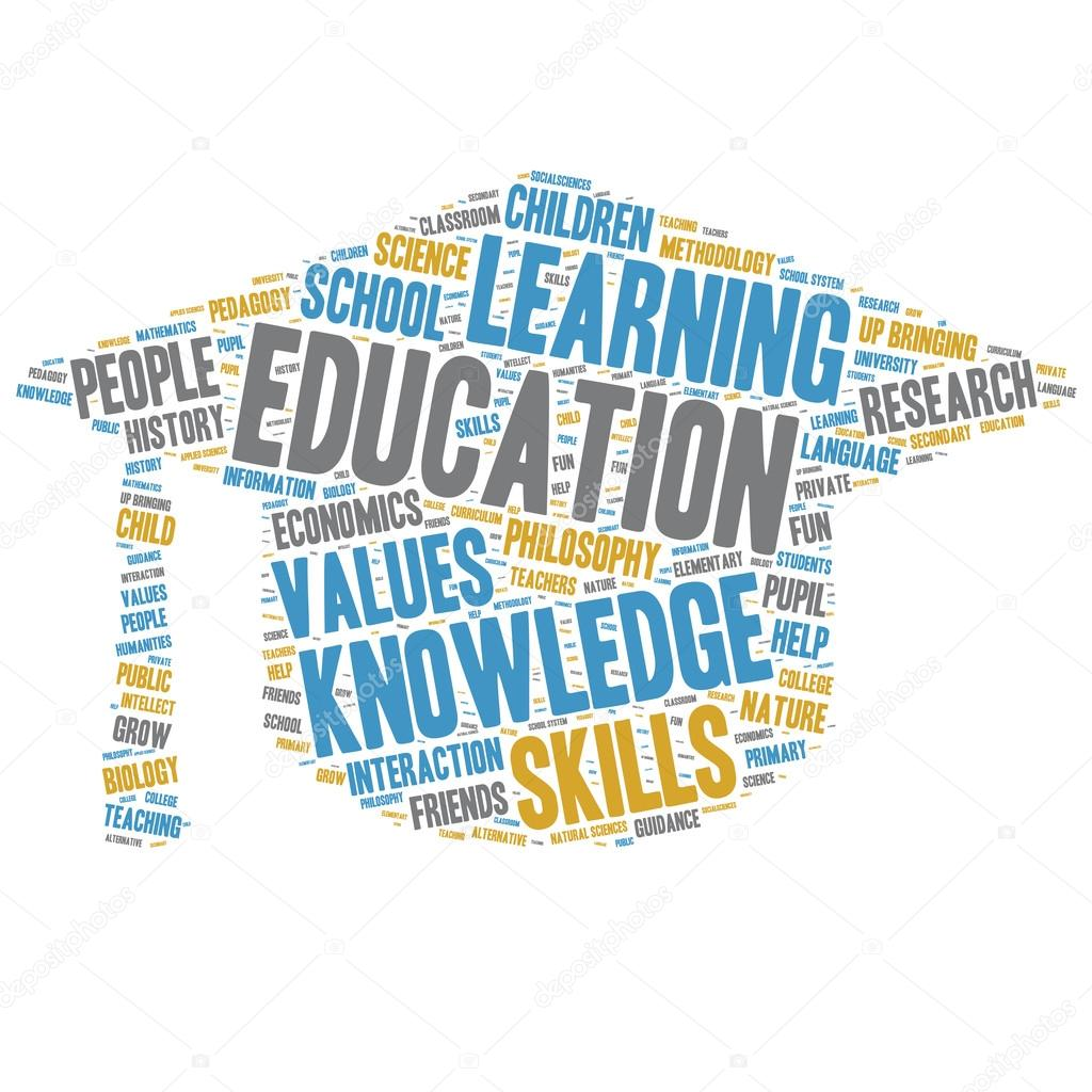 Education Word Clouds - Isolated Mortarboard — Stock ...