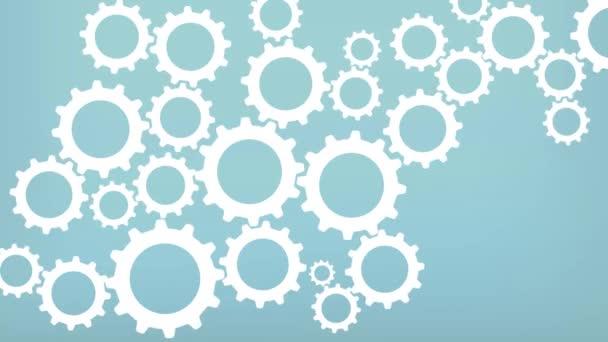 Simple Minimalistic Cog wheel Background Animation Loop. Gears on Blue background, representing teamwork