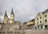 Fotografie Cathedral of Holy Trinity. Andrej Hlinka square in Zilina. Slovakia
