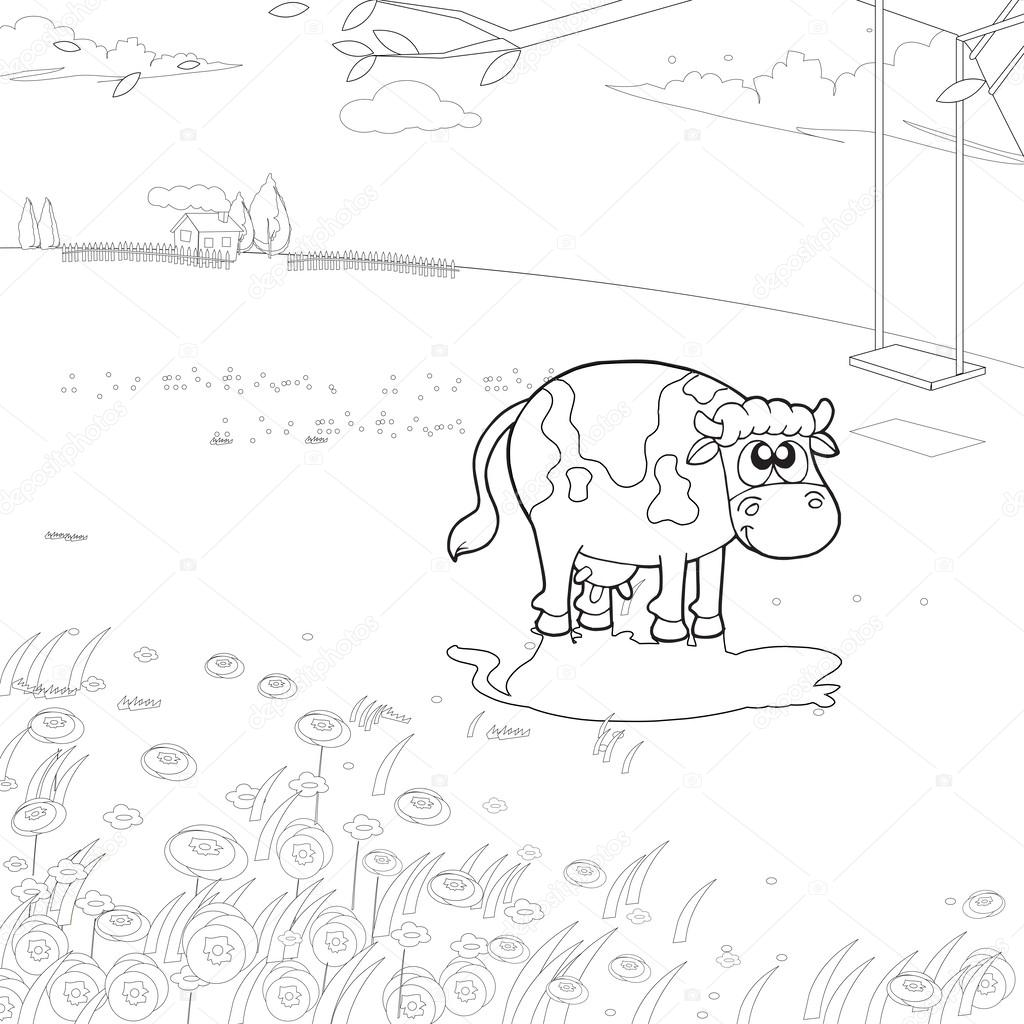 la vaca en una granja de libro para colorear — Archivo Imágenes ...