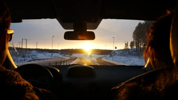 Pov driving car during trip with sunset, steadicam shot