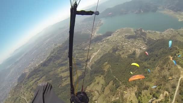 Pov Paragliding in the sky Annapurna Pokhara, Nepal, Himalayas