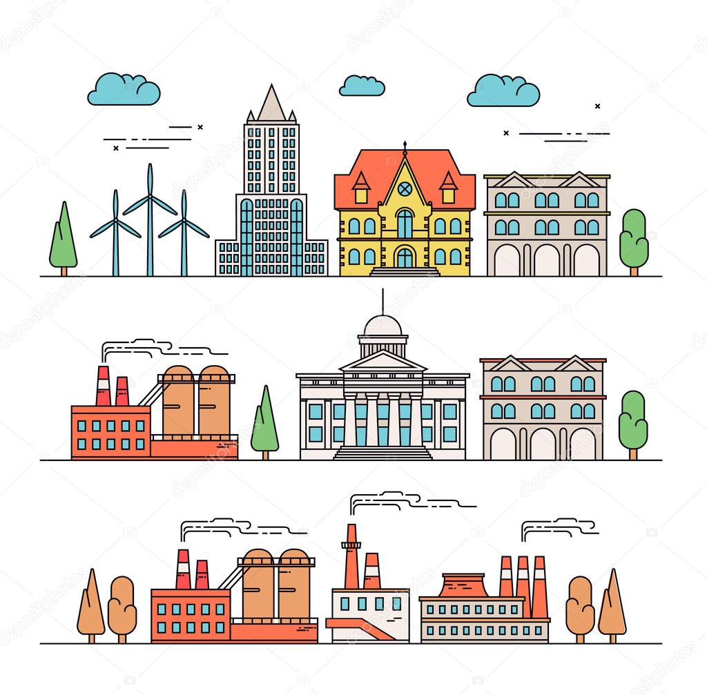 different types of industrial construction illustration in linear
