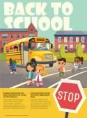 Zpátky do školy bezpečnosti Flayer zobrazující školní autobusová zastávka. Absolvování školní autobus. Dítě internátní školní autobus. Děti přes silnici. Vektorové ilustrace