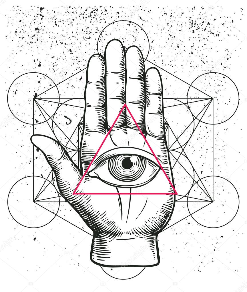 Hipster illustration with sacred geometry hand and all seeing hipster illustration with sacred geometry hand and all seeing eye symbol nside triangle pyramid buycottarizona