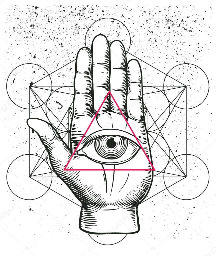 Jewish hamsa tattoo stock vector yulianas 135027268 hipster illustration with sacred geometry hand and all seeing eye symbol nside triangle pyramid biocorpaavc
