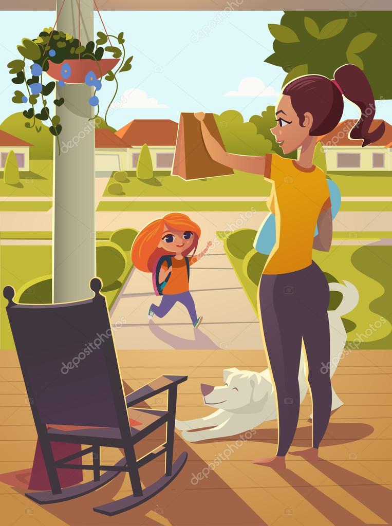 f3ca787d1 Madre ver hija de a pie de la escuela en el porche de la casa, ...