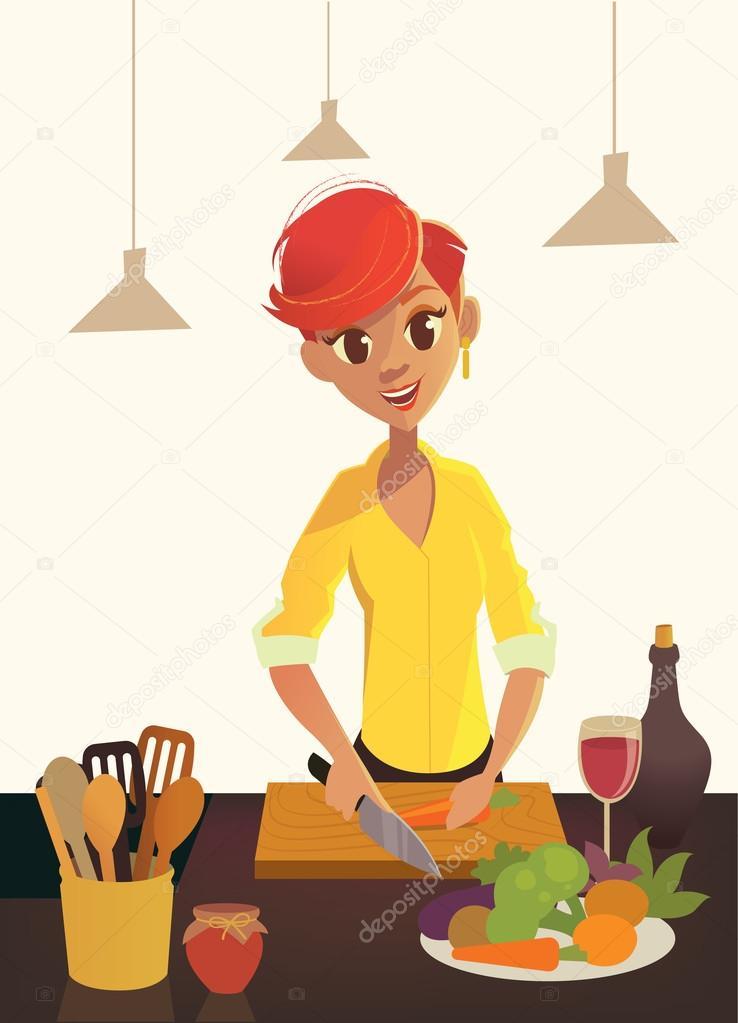 Alimentos saludables dibujos animados mujer cocinando en for Cocinar imagenes animadas