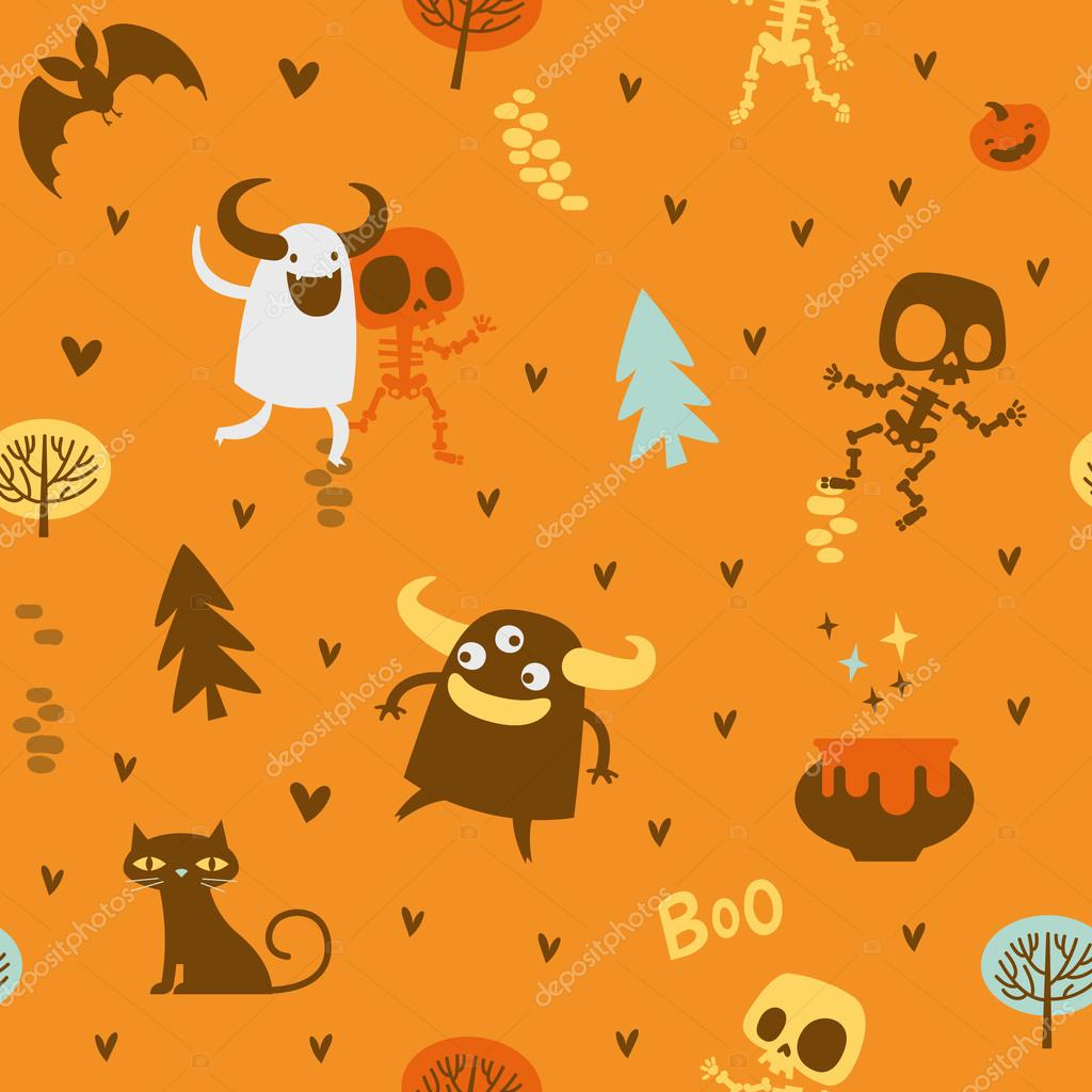 f02c2dbe801 Halloween theme pattern, Cute skeletons and monsters in a forest ...