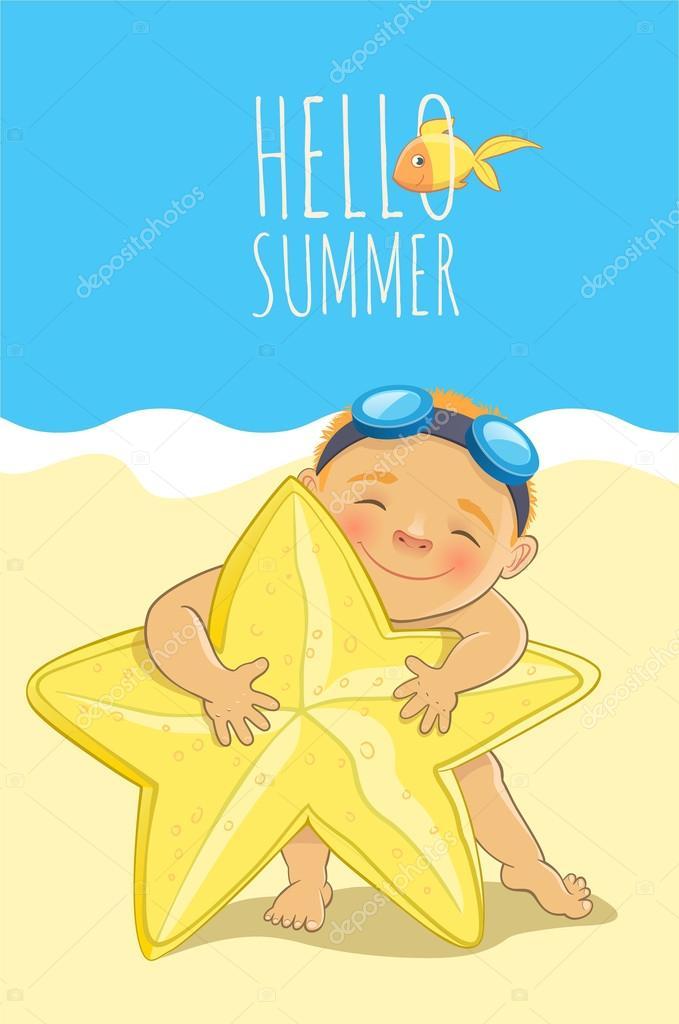 Summertime in a beach. Cute boy and yellow sea star.