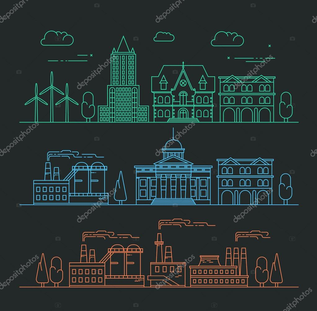 Vector city, environment and industry illustration in linear sty