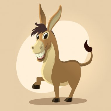 Donkey character illustration in cartoon style