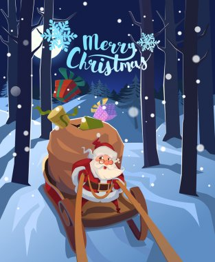 Santa Claus in a sleigh with presents in a hurry for the holiday. Christmas greeting card poster. Vector.