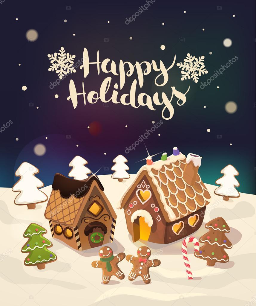 Fondo de Navidad con casitas de jengibre, dulces y poco hombres ...