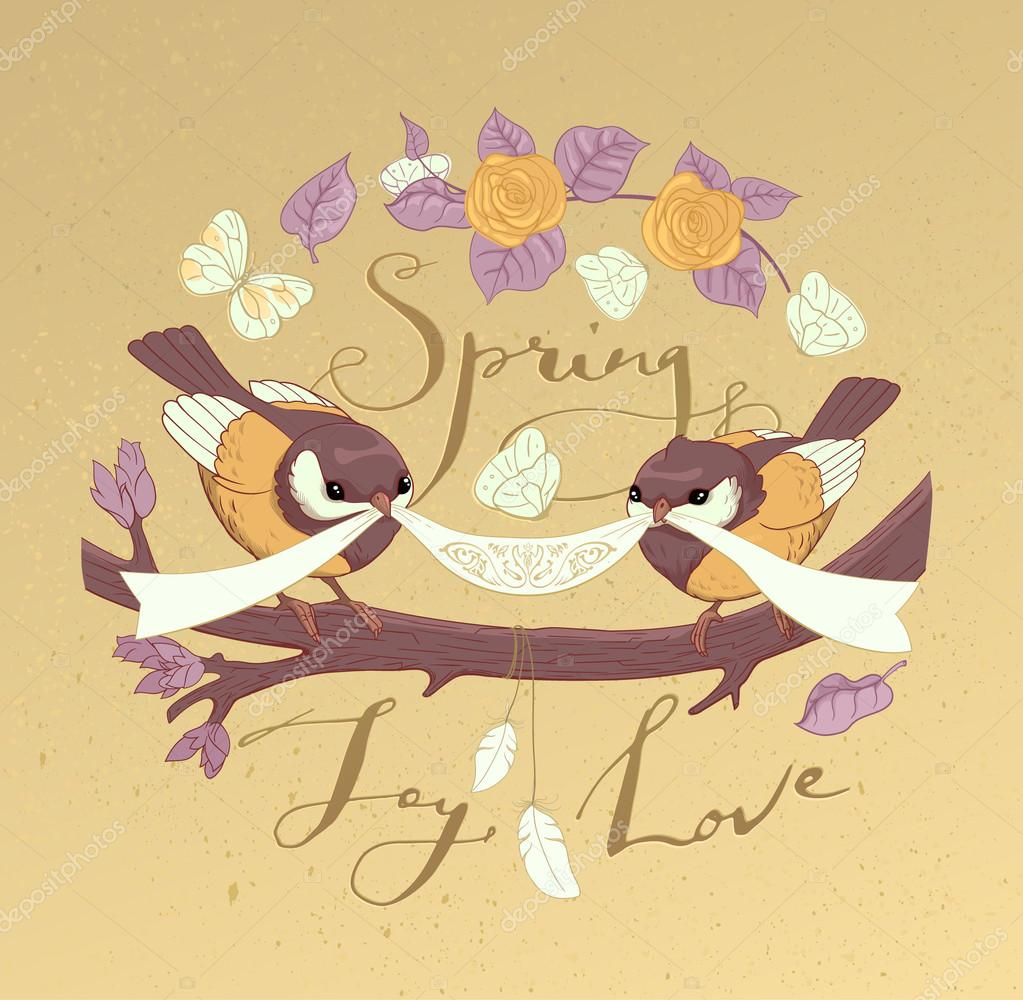 Handmade greeting card design with plants, roses, birds and butterflies. Hand drawn ink lettering on a craft background. Spring, Joy, Love. Vector.