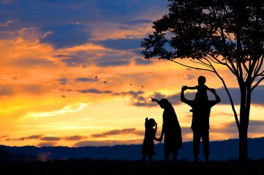 silhouette of a happy family of five people, mother, father, baby, child and infant(women prenancy)