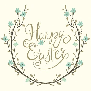 Easter greeting card. Spring wreath with flowers. Happy easter hand lettering
