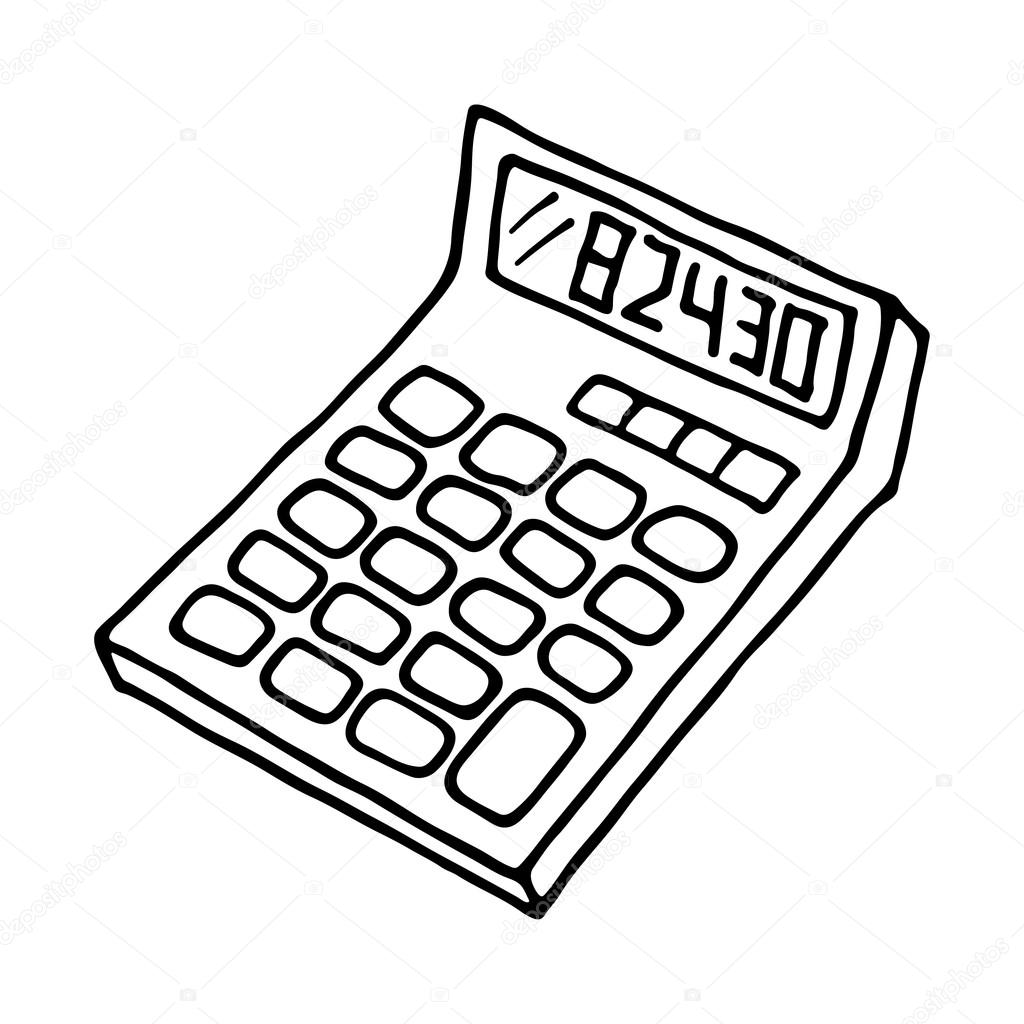 calculator icon outlined stock vector arnica83 115712762 Office Suplies Clip Art calculator icon outlined on white background vector by arnica83